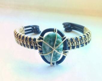 Moss agate bangle bracelet