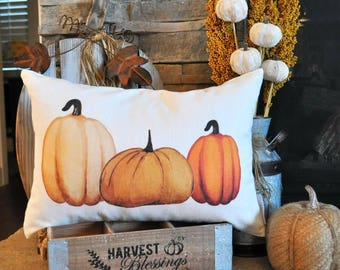 SALE-, Fall Pillow Cover, Pumpkin Patch, Fall Decor, Front porch pillow, 14x20, watercolor pumpkin