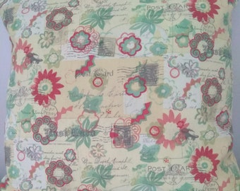 Postcards & Floral Pillow Covers - 16 x 16 - Set of 2 Pillow Covers