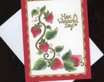 greeting card, art card, handmade card, gift card, strawberries, hand crafted card, card art