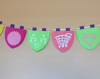 Shopkins Garland (12 flags), Shopkins Banner, Bunting, Shopkins Birthday Party