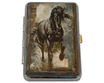 Horse Decoupage Cigarette Case, Decorated Cigarette Case, Metal Cigarette Case, Cigarette Holder, Cigarette Box, Business Card Holder
