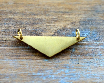 Triangle Geometric Charm Link Brushed 24k Gold Plated Stainless Steel Geometric Layered Charm Minimal Jewelry Pendant (AQ019)