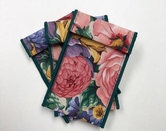 7 Jewelry Pouches - pink floral green 2 inches x 4 inches