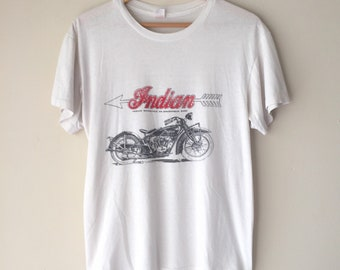 Vintage 80s INDIAN MOTOCYCLE Motorcycle Tee Shirt  1980s Thin Faded Soft