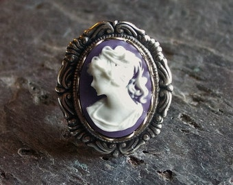Purple cameo ring, antique silver ring, lavender cameo ring, Jane Austen jewelry, cameo jewelry, holiday gift ideas, gift ideas for mom