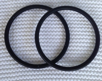 Large Pair of Black Aluminum Sling Rings