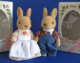 Vintage Bunny Rabbit Dolls The Hopp-Kins Hippity and Hillie Emotions Mattel Moveable Head and Arms Original Box Easter Basket