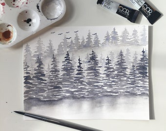 Monochromatic Forest Print