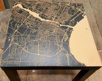 Custom Road/Topography Map Engraved On Table Tops