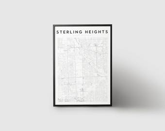 Sterling Heights Map Print