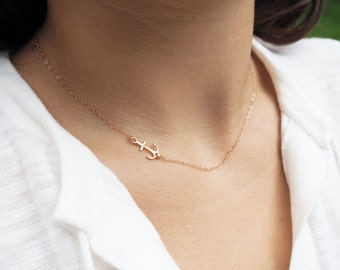 Rose Gold Necklace, Rose Gold Anchor Necklace, Rose Gold Sideways Anchor Necklace