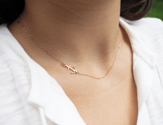 Rose Gold Necklace Rose Gold Anchor Necklace Rose Gold