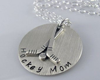 """Hockey Mom Necklace - 1"""" Hand Stamped Sterling Silver Disc, Hockey Stick Charm"""