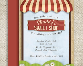 Sweet Shoppe Sweet Shop BIRTHDAY PARTY Invitations Vintage Retro Store Front Girl or Boy Printable Digital Design DIY Cards - 107484403