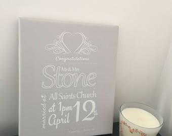 The Wedding Couple Personalised Canvas