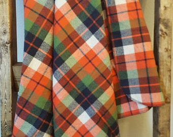 Orange, navy and green plaid flannel baby blanket, extra large swaddle blanket, extra large receiving blanket, baby boy nursery