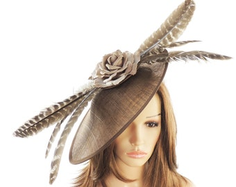 Irin Mink Chocolate Brown Hatinator for Weddings, Races, and Special Events With Headband