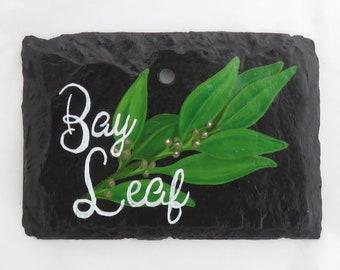 Hanging Bay Leaf Slate Garden Marker - Stake Included