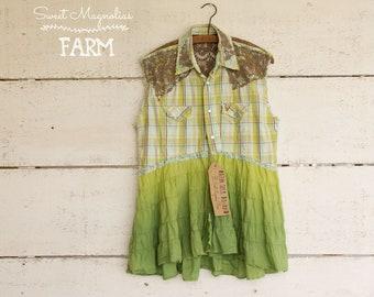 Cotton Sleeveless Shirt - Tunic - Size Large - Boho Clothing - Upcycled - Green Aqua Plaid Faded Green Tiered Skirt Empire Waist Shabby Chic