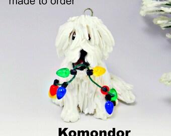 Komondor Dog Porcelain Christmas Ornament Figurine Made to Order