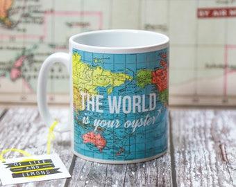 World map travel mug etsy world map mug mug travel quote travel gift leaving gift world gumiabroncs Image collections