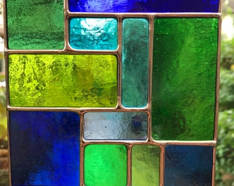 Stained Glass Panel Blue & Green Coloured Copper Abstract Stained Glass Suncatcher Glass Art Panel Stain Glass  - CRhodesGlassArt