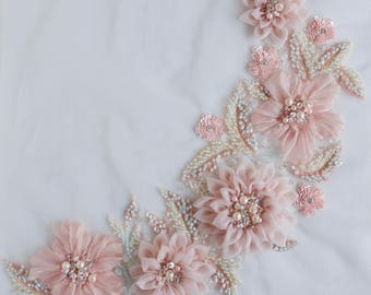 Applique in beautiful blush with hand-crafted silk organza flowers