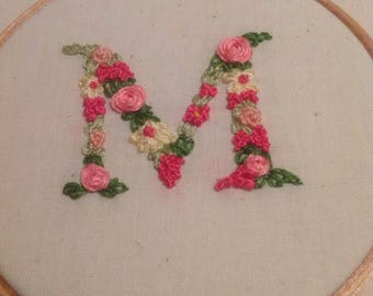 Hand-embroidered floral hoop art