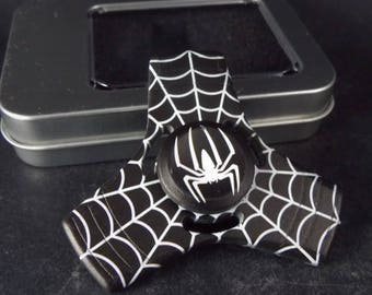 Metallic Fidget Tri Hand Spinner Finger Spin Marvel Black Spiderman Stress Reduce Adult Kid Toy