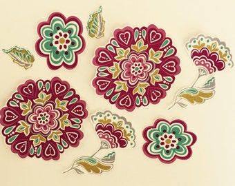 Wine Flowers - Iron On Fabric Appliques