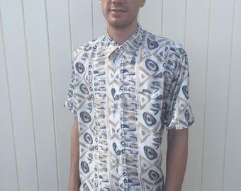 Men's Vintage Shirt. Patterned 80s Retro Shirt. Large.