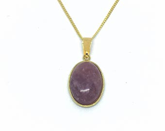 Yellow gold plated and natural pink Opal stone necklace.