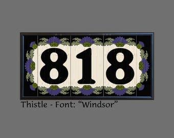 House Numbers, Address Tiles, Thistle Design, Framed Set