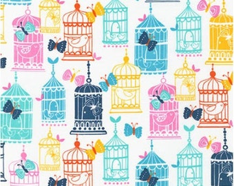 Bright Birdcages from Robert Kaufman's Cherry Blossom Garden Collection by Wendy Kendall