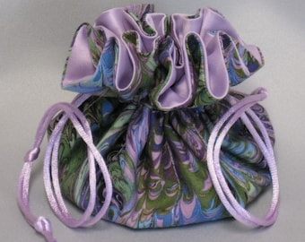 Jewelry Travel Tote---Drawstring Organizer Pouch---Beautiful Multi Color Abstract Design---Regular Size