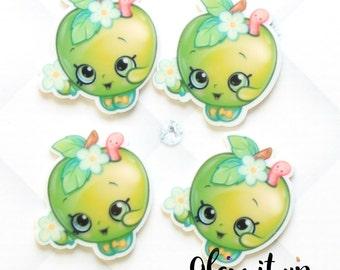 Shopkin bow center-apple blossom Center- shopkin inspired Flatback resin- shopkin cabochon-shopkin hair bow center-hair bow