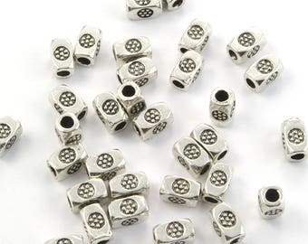 Pewter Beads Hill Tribe Silver Style Large Hole Silver Plated 4x7mm Tapered Square Tubes with Daisies - 30