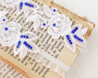 Wedding Garter Set, Something Blue,Ivory Flower Lace with Royal Blue Stone Wedding Garter Set, Ivory Garter Set, Blue Stone Garter/ GT-34A