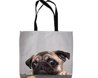 Pug Dog With Biscuit Design Tote Bag Shopping Bag Beach Bag School Bag