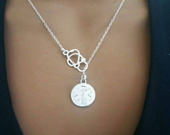 Silver EMT Medical Caduceus Medicine Gift Stethoscope Emergency Medical symbol Technician Lariat Necklace