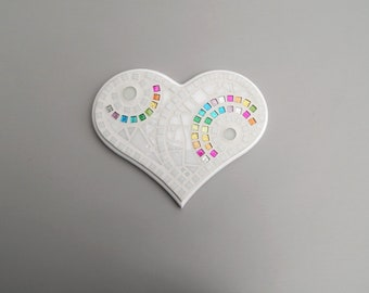"Mosaic Art, Heart Wall Decor, Large, White+Rainbow Glitter Mosaic Tiles Handmade Stained Glass Mosaic Heart Wall Art, 10.5"" Wide x 7.5"" Long"