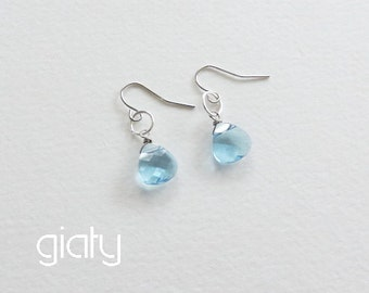 Mother's Day Sale - Aquamarine Earrings, Dainty Earrings, Small Earrings, Everyday Earrings, Bridesmaid Earrings, Bridesmaid Gift Earrings,