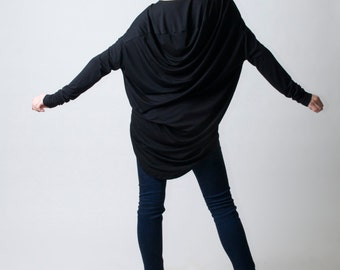 Black Tunic with Cowl Back / Loose Top / Long Sleeve Extravagant Tunic / Oversize Blouse / Asymmetric Tunic / Marcellamoda - MB0094