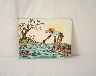 Vintage Signed Paint By Number Ethnic Fisherman / Asian / Cuban / African