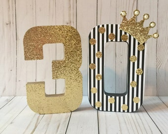 Princess party, Gold and black party,  Pink and gold  birthday, Block number, 30th birthday decor, Age number