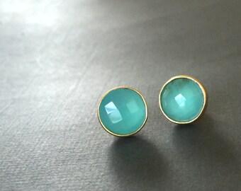 Aqua Blue Chalcedony Stud earrings, Stud Earrings, Square Chalcedony, Gemstone Earrings, Aqua Blue Chalcedony Earrings, Gold Earrings