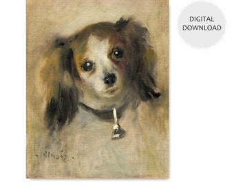 "Papillon Dog Art, Download Wall Prints (Renoir Painting Print, Yellow Home Decor Museum, Printable Portrait Pet) -- 1870 ""Head of a Dog"""