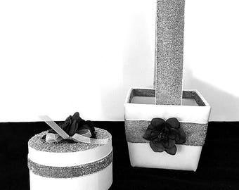 Silver Flower Girl Basket Ring Bearer Box   Silver Flower Girl Basket & Glitter Ring Box Beach Wedding   Silver Ring Bearer Box Alternative