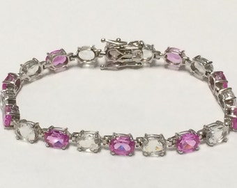 VINTAGE Sterling Silver 925 Gemstone Bracelet Pretty!